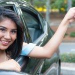 Teen Girl Driving A Car