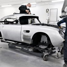 Aston Martin building retro DB5 series complete with 007 spy gadgets