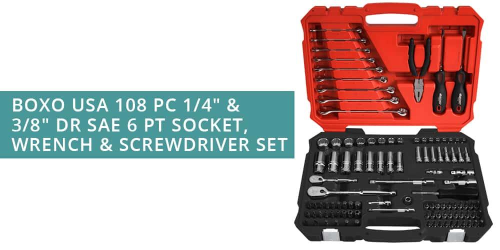 Boxo USA 108 pc socket, wrench and screwdriver set