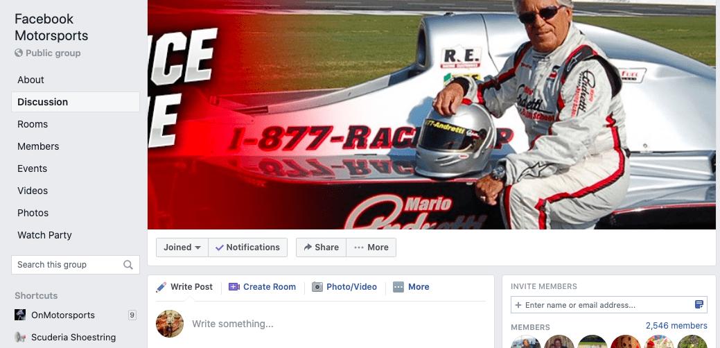 Motorsports Facebook