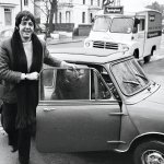 Paul McCartney of the Beatles with his mini car 27th December 1967