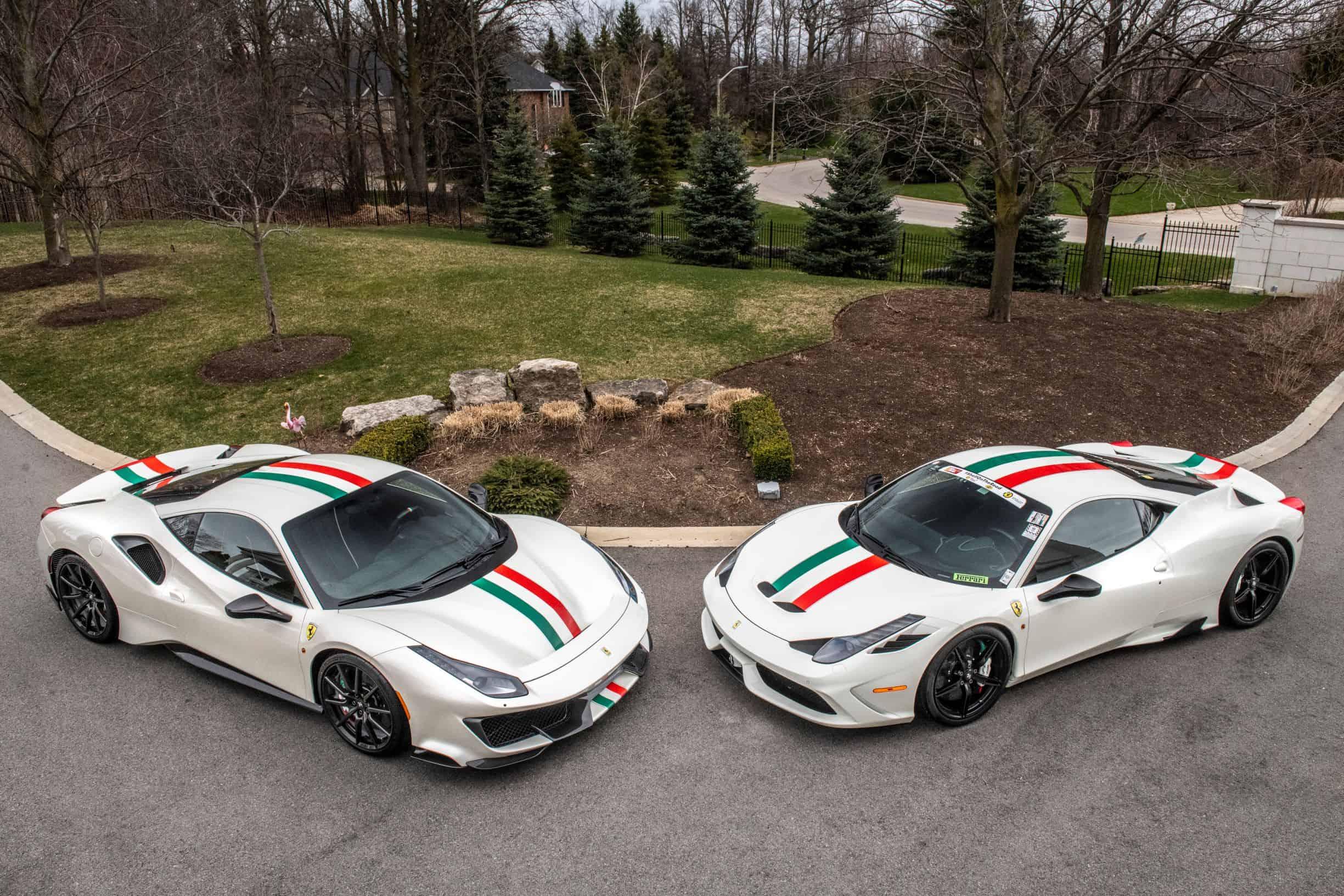 Ferrari 488 Pista and a Ferrari 450 Speciale