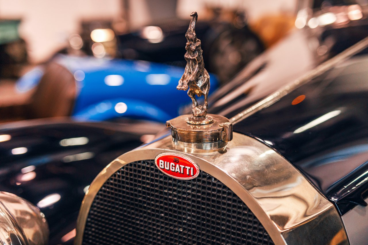 Brother's elephant sculpture on the Royale above the Bugatti Macaron badge.