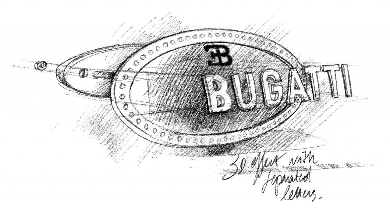 Sketch of the Bugatti Macaron badge.