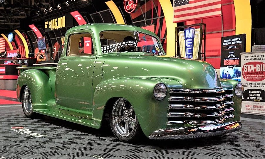 1949 Chevrolet 3100 custom pickup truck at the Mecum Auction