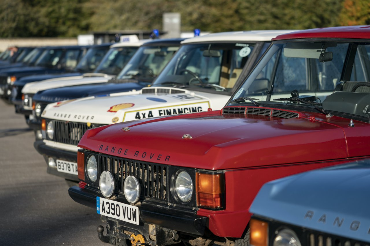 Row of Range Rovers parked at Land Rover's 50th anniversary party.