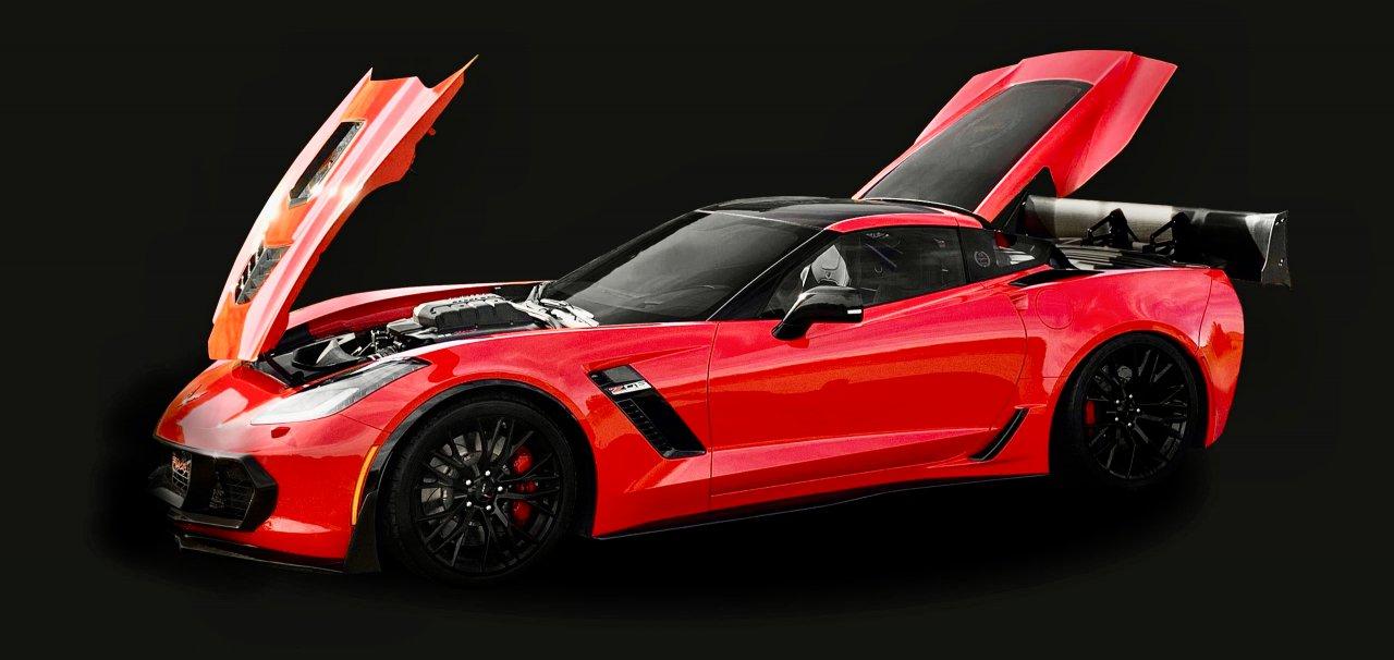 Callaway Corvette with open hood