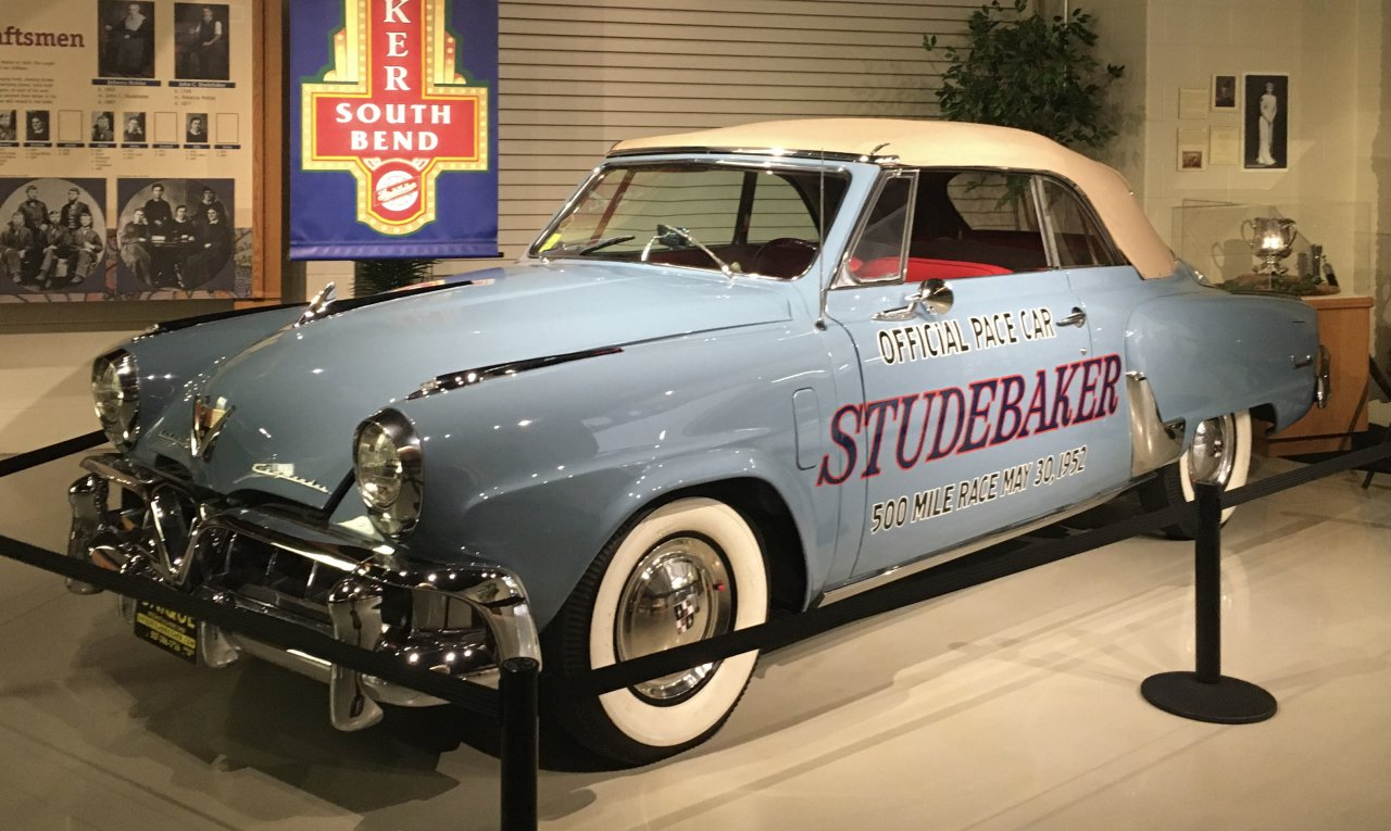 1952 Studebaker Indy 500 pace car on display in car museum