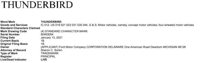 Ford renews Thunderbird trademark