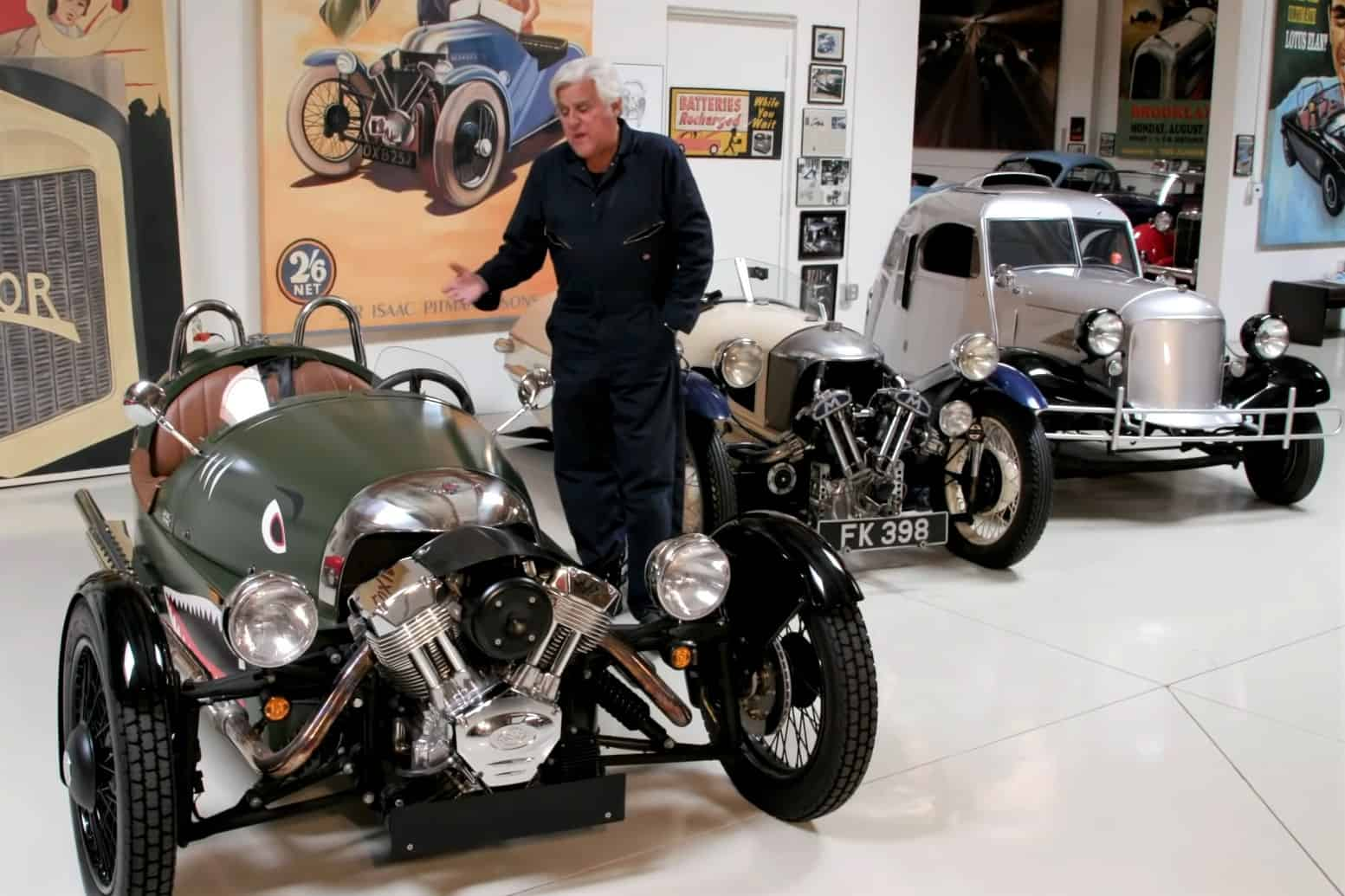 """Jay Leno has brought out his Morgan 3 Wheeler for the latest episode of his popular YouTube series, """"Jay Leno's Garage."""""""