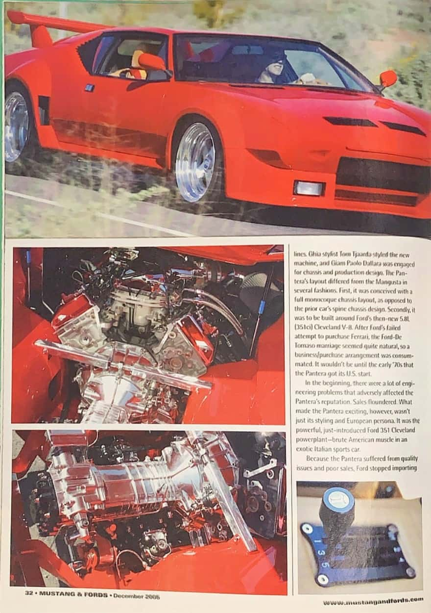Tom's Pantera in Ford and Mustang magazine