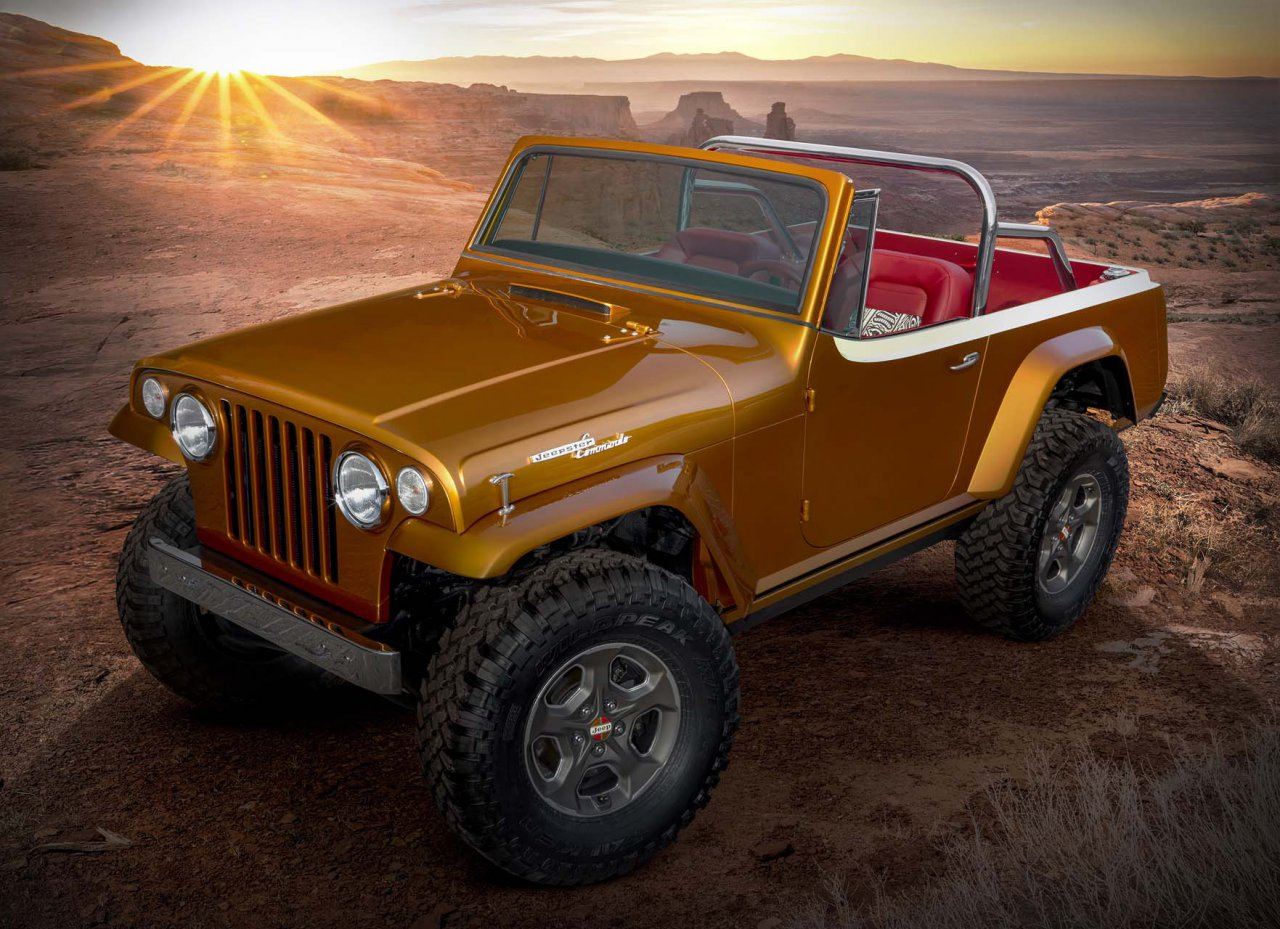 """This year's Jeep® """"Resto-Mod"""" is a throwback to the second-generation Jeepster. The Jeepster Beach concept started as a 1968 Jeepster Commando (C-101) and was seamlessly blended with a 2020 Jeep Wrangler Rubicon. The body was modified and the exterior fuses original chrome trim with an updated, brightly colored two-tone paint scheme of Hazy IPA and Zinc Oxide. While the Jeepster Beach maintains the outward appearance of a vintage Jeepster, it commands peak performance both on- and off-road delivered by the modern-day Jeep Wrangler."""