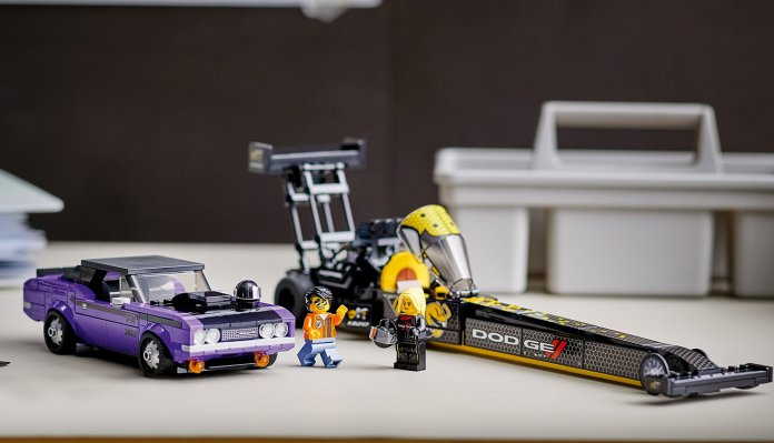 Lego and Dodge offer Plum Crazy 1970 Challenger and Top Fuel dragster