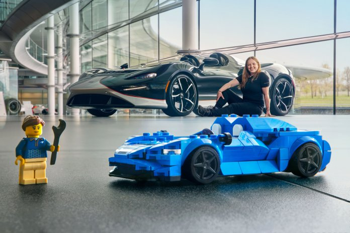 McLaren Elva with Lego replica and Rachel Brown