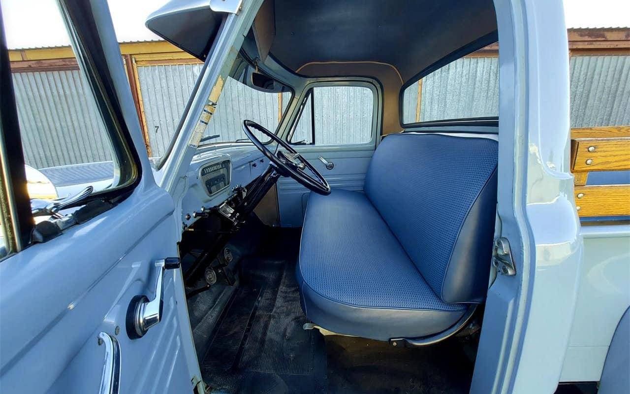 1954 Ford F100, barn-found baby blue pickup interior
