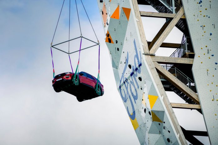 Ford Explorer making its way to the top of the world's tallest free-standing climbing tower | Ford photos