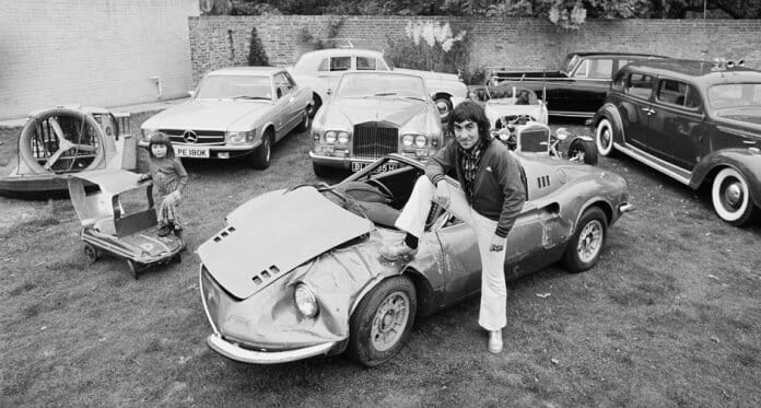 Moon with his damaged Dino in 1972