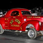 Big John Mazmanian '41 Willys with Bones Balogh in the seat #119-Howard Koby photo